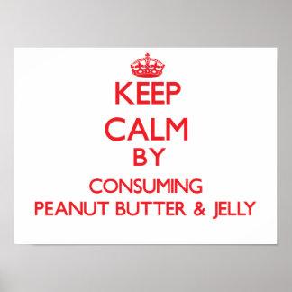 Guarde la calma consumiendo la mantequilla y la ja impresiones