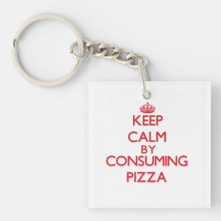 Guarde la calma consumiendo la pizza llaveros