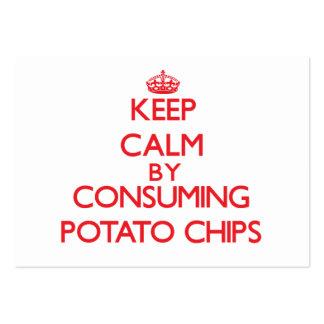 Guarde la calma consumiendo las patatas fritas plantilla de tarjeta de negocio