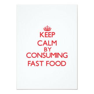 Guarde la calma consumiendo los alimentos de invitación 12,7 x 17,8 cm