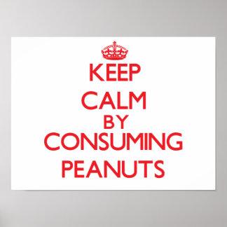 Guarde la calma consumiendo los cacahuetes poster