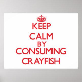 Guarde la calma consumiendo los cangrejos posters