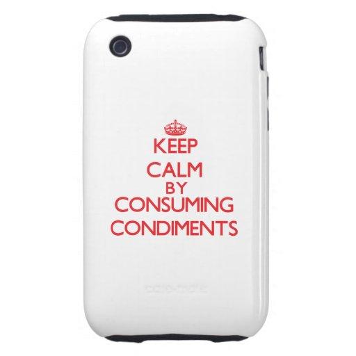 Guarde la calma consumiendo los condimentos iPhone 3 tough cobertura