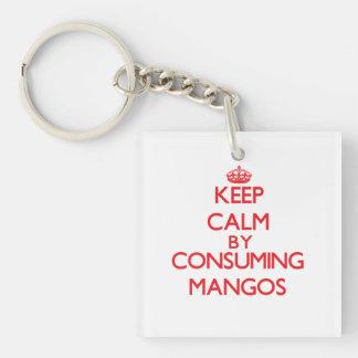 Guarde la calma consumiendo los mangos llavero cuadrado acrílico a doble cara