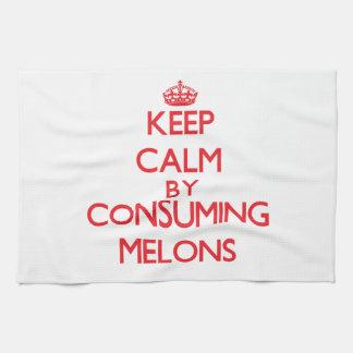 Guarde la calma consumiendo los melones toallas de mano