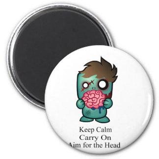 Guarde la calma, continúe, apunte para la cabeza imán redondo 5 cm