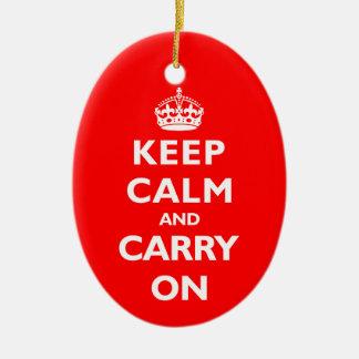 Guarde la calma cualquier color adorno navideño ovalado de cerámica