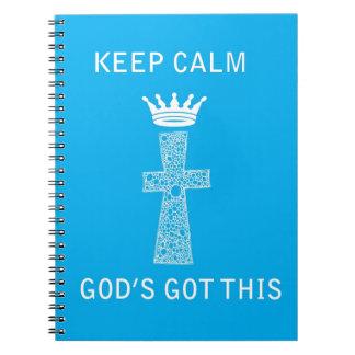 Guarde la calma, dios conseguido esto cuaderno
