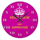 Guarde la calma e improvise reloj de pared