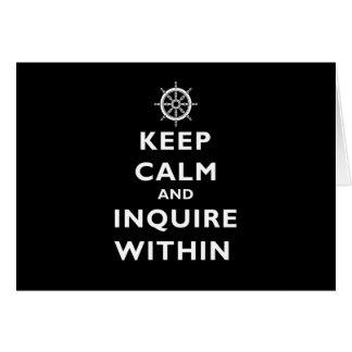 Guarde la calma e investigue dentro tarjeta de felicitación