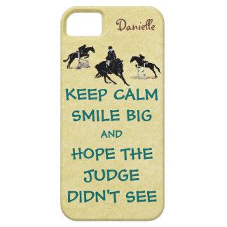Guarde la calma, Equestrian grande de la sonrisa iPhone 5 Carcasa