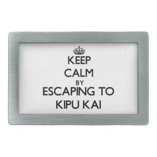 Guarde la calma escapándose a Kipu Kai Hawaii Hebillas De Cinturón Rectangulares