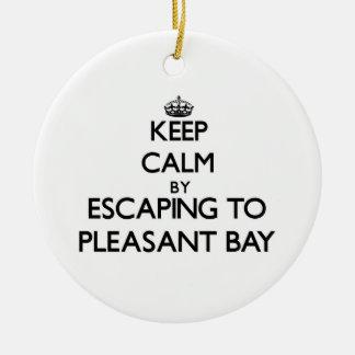 Guarde la calma escapándose a la bahía agradable M Adorno De Navidad