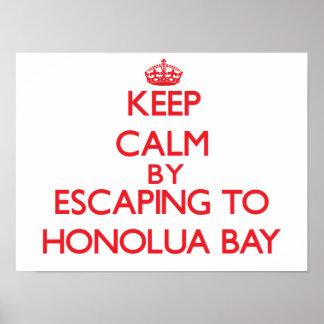 Guarde la calma escapándose a la bahía Hawaii de H Posters