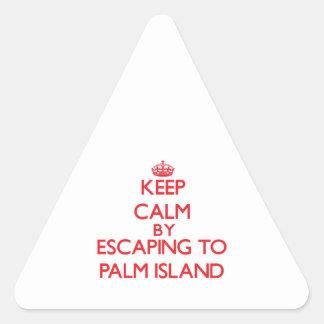 Guarde la calma escapándose a la isla de palma la calcomanía de triangulo