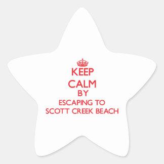 Guarde la calma escapándose a la playa Califor de Pegatina En Forma De Estrella