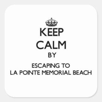 Guarde la calma escapándose a la playa del pegatina cuadrada