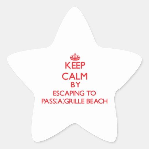Guarde la calma escapándose a la playa Flori de la Calcomanía Forma De Estrella