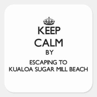 Guarde la calma escapándose a la playa H del Pegatina Cuadrada
