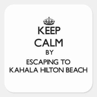 Guarde la calma escapándose a la playa Hawai de Pegatina Cuadrada