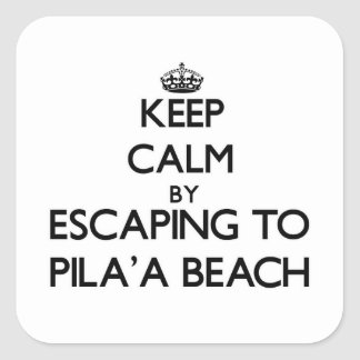 Guarde la calma escapándose a la playa Hawaii de Calcomanías Cuadradass Personalizadas
