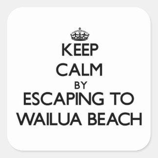 Guarde la calma escapándose a la playa Hawaii de Calcomanía Cuadradas Personalizadas
