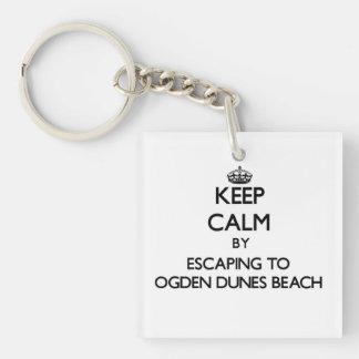 Guarde la calma escapándose a la playa Indiana de Llavero Cuadrado Acrílico A Una Cara