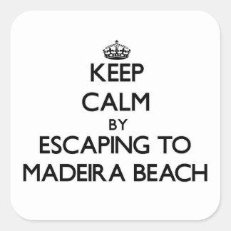 Guarde la calma escapándose a la playa la Florida Calcomanías Cuadradas Personalizadas