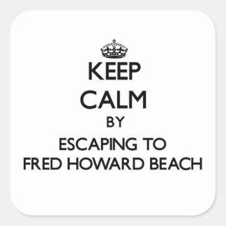 Guarde la calma escapándose a la playa la Florida Calcomanías Cuadradases