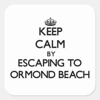 Guarde la calma escapándose a la playa la Florida Pegatina Cuadrada