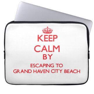 Guarde la calma escapándose a la playa magnífica M Fundas Portátiles