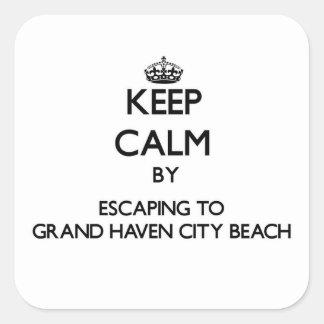 Guarde la calma escapándose a la playa magnífica M Pegatinas Cuadradases Personalizadas