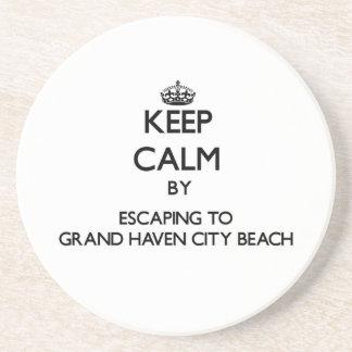 Guarde la calma escapándose a la playa magnífica M Posavasos Diseño