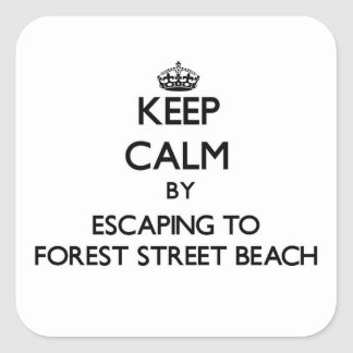 Guarde la calma escapándose a la playa Massa de la Calcomanía Cuadradas Personalizadas