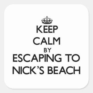 Guarde la calma escapándose a la playa Nueva York Pegatinas Cuadradas
