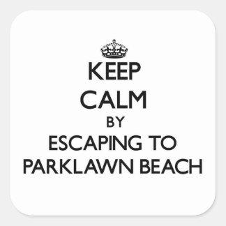 Guarde la calma escapándose a la playa Ohio de Pegatina Cuadrada