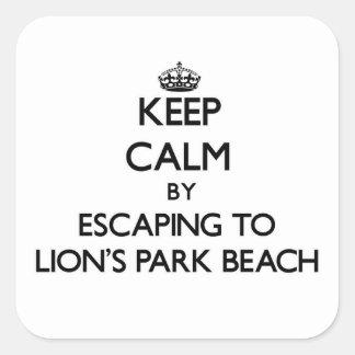 Guarde la calma escapándose a la playa Ohio del Pegatina Cuadrada