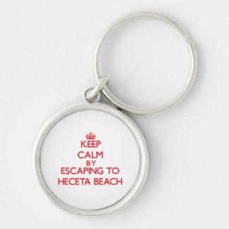 Guarde la calma escapándose a la playa Oregon de Llavero Redondo Plateado