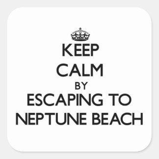 Guarde la calma escapándose a la playa Oregon de Calcomania Cuadradas Personalizada