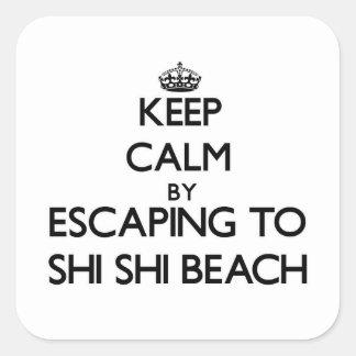 Guarde la calma escapándose a la playa Washington Calcomanias Cuadradas