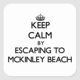 Guarde la calma escapándose a la playa Wisconsin Colcomanias Cuadradas