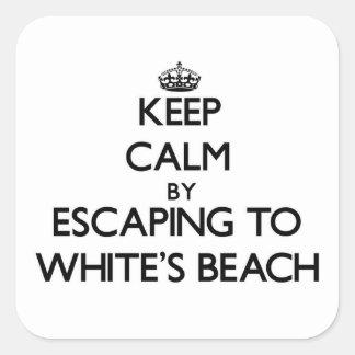 Guarde la calma escapándose a la playa Wisconsin Pegatinas Cuadradas Personalizadas