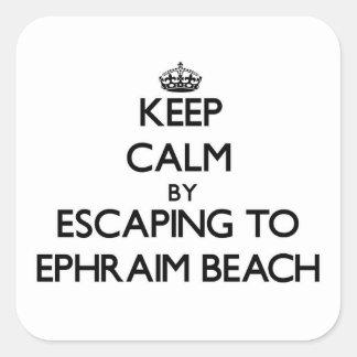Guarde la calma escapándose a la playa Wisconsin Calcomania Cuadradas Personalizadas