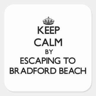Guarde la calma escapándose a la playa Wisconsin Pegatinas Cuadradases Personalizadas