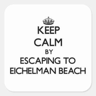 Guarde la calma escapándose a la playa Wisconsin Pegatina Cuadradas Personalizada