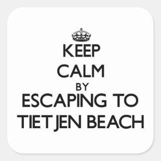 Guarde la calma escapándose a la playa Wisconsin Calcomania Cuadrada Personalizada
