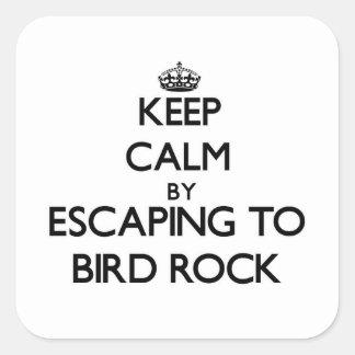 Guarde la calma escapándose a la roca California Pegatina Cuadrada