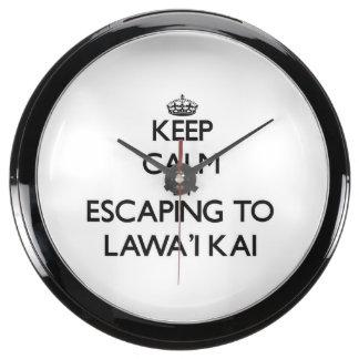 Guarde la calma escapándose a Lawa'I Kai Hawaii Reloj Pecera