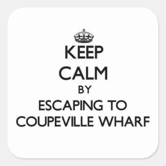Guarde la calma escapándose al muelle Washingt de Calcomania Cuadradas Personalizadas