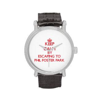 Guarde la calma escapándose al parque adoptivo la relojes de mano